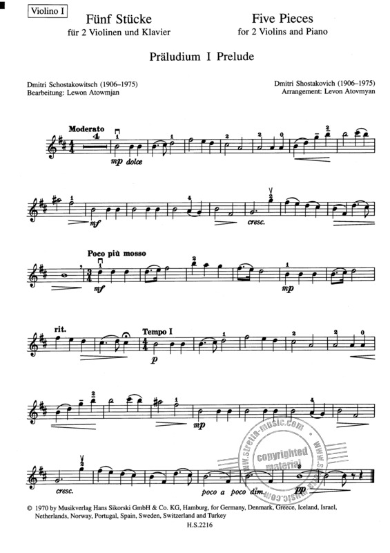 5 Stücke from Dmitri Shostakovich | buy now in Stretta sheet
