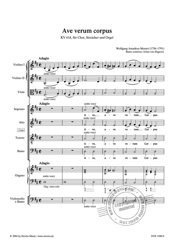 Ave Verum Corpus From Wolfgang Amadeus Mozart Buy Now In Stretta Sheet Music Shop