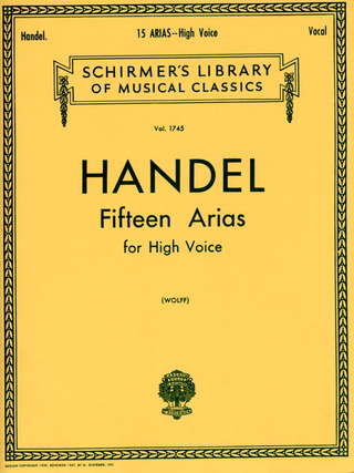 Georg Friedrich Händel: Handel, Gf 15 Arias High Voice Ita/Eng (Lb1745)