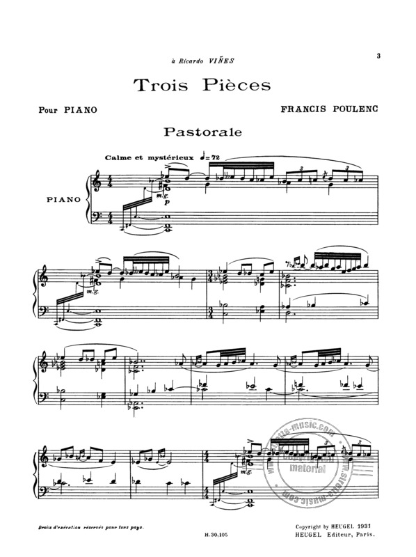 Francis Poulenc: 3 Pieces (1)