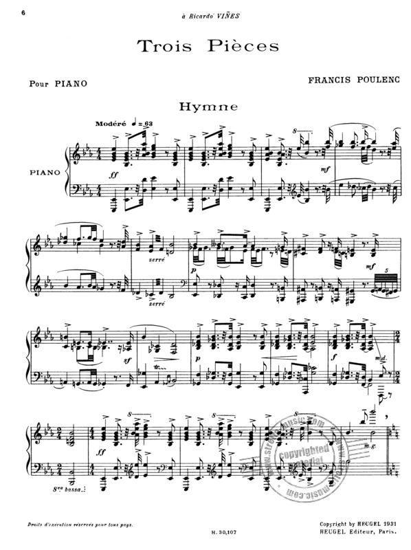 Francis Poulenc: 3 Pieces (2)