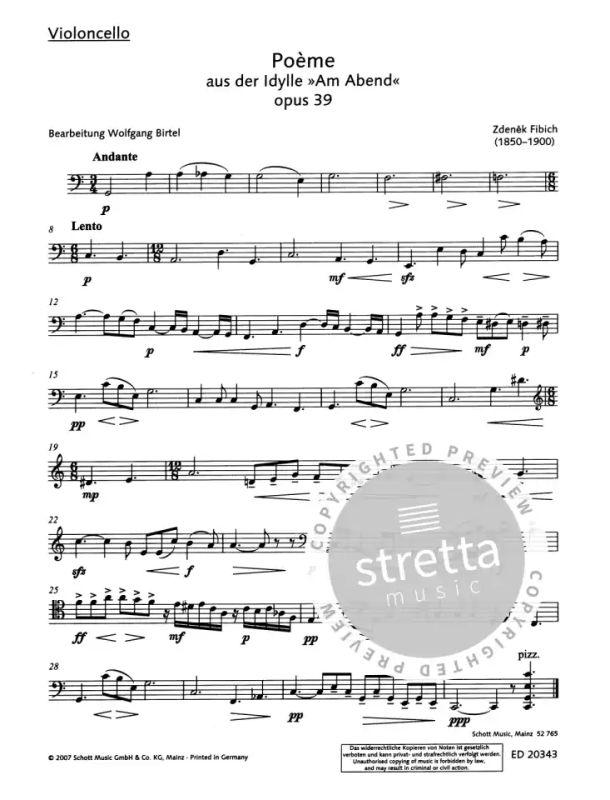 Poème Op 39 From Zdeněk Fibich Buy Now In Stretta Sheet