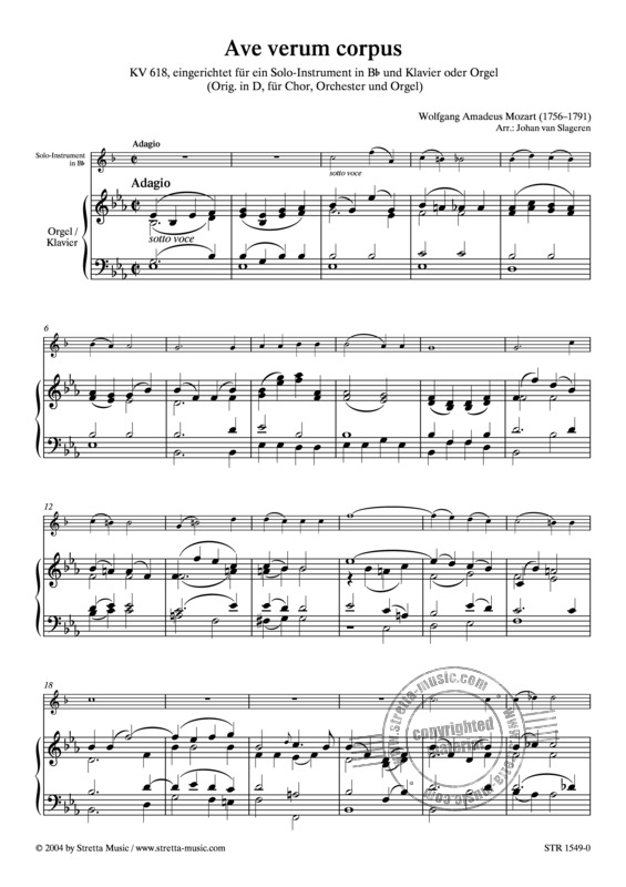 Ave Verum Corpus From Wolfgang Amadeus Mozart Buy Now In The Stretta Sheet Music Shop