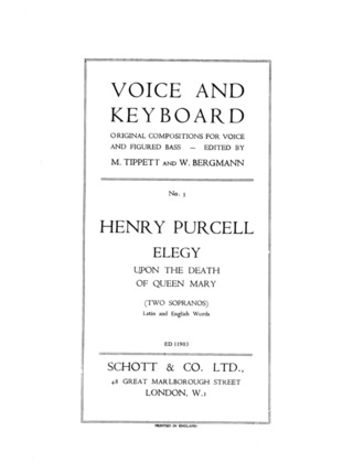 Henry Purcell: Elegy upon the Death of Queen Mary