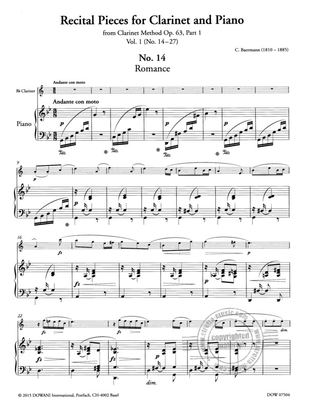 Carl Baermann: Recital Pieces for Clarinet and Piano (1)