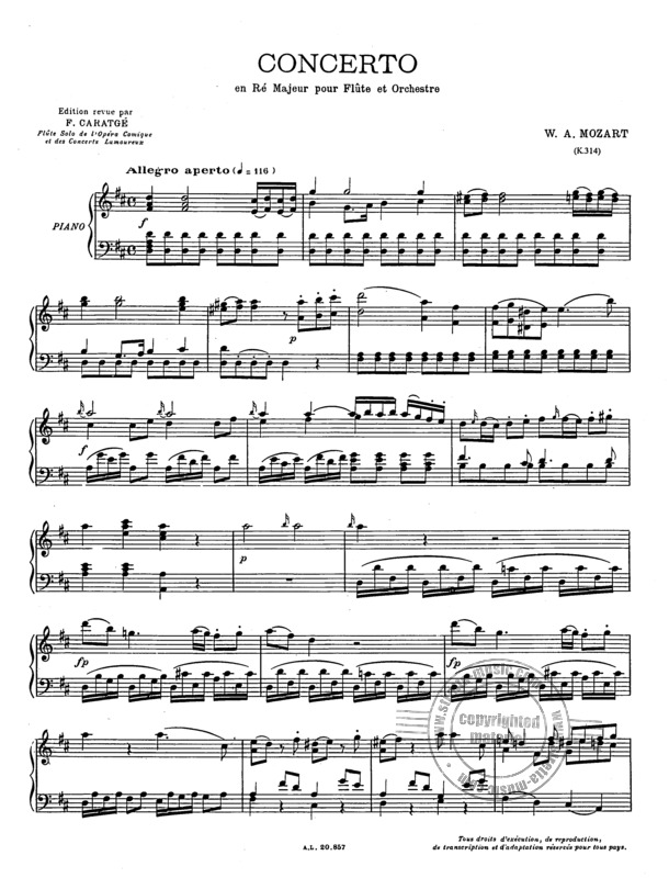 Wolfgang Amadeus Mozart: Concerto in D for Flute and Piano  KV 314 (1)