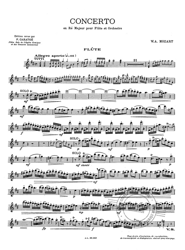 Wolfgang Amadeus Mozart: Concerto in D for Flute and Piano  KV 314 (3)