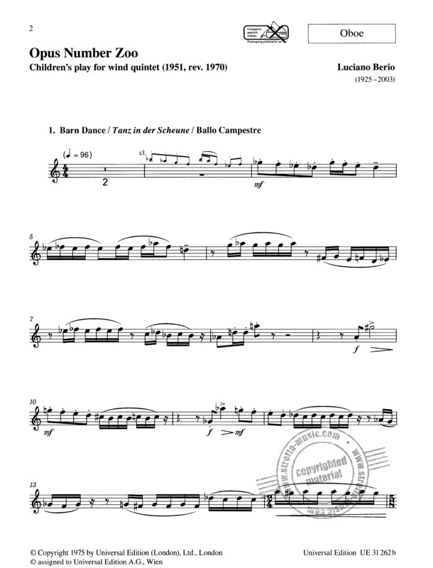 Opus Number Zoo für Bläserquintett (Flöte, Oboe, Klarinette