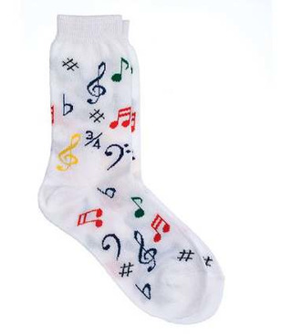 Kids' Socks : Multi Notes (White)