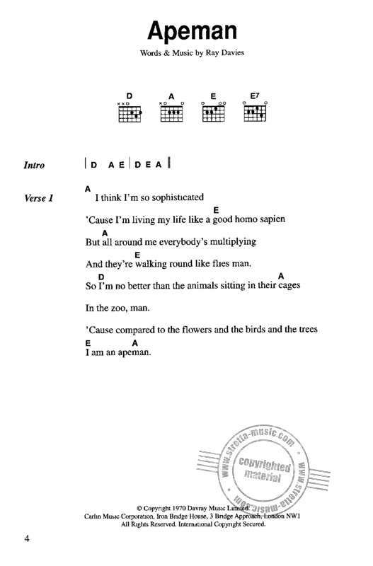 Kinks Chord Songbook Lc From