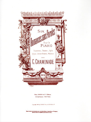 Cécile Chaminade: 6 Romances sans paroles op. 76