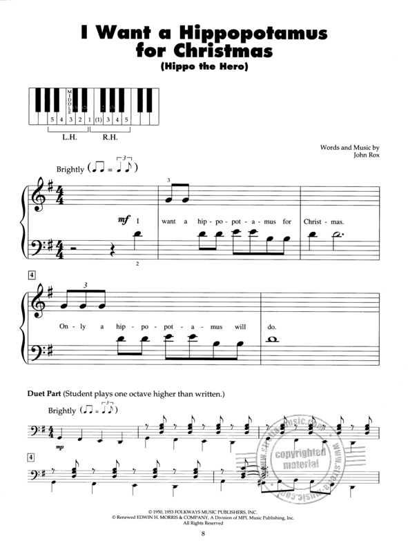 I Want A Hippopotamus For Christmas Sheet Music.5 Finger Piano Holiday Favorites Buy Now In Stretta Sheet