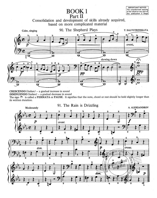 RUSSIAN SCHOOL OF PIANO PLAYING Book 1 part 2