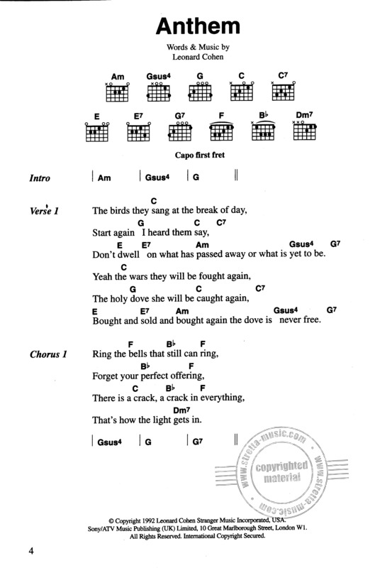The Chord Songbook – Leonard Cohen (1)