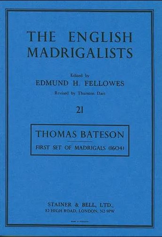 Thomas Bateson: First Set of Madrigals