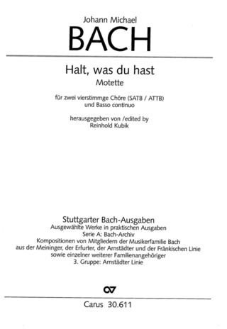 Johann Michael Bach: Halt, was du hast