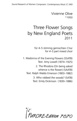 Vivienne Olive: Three Flower Songs by New England Poets