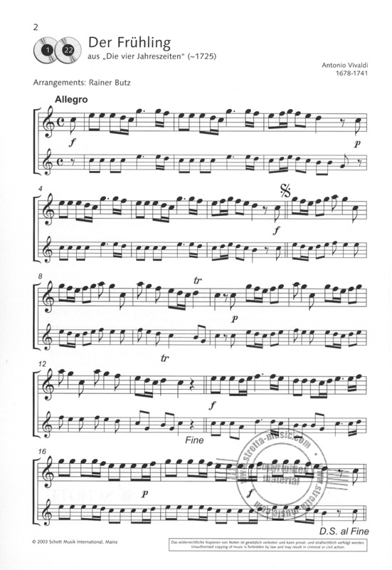 Noten mit CD Klassik-Hits für 1-2 Sopran-Blockflöte n