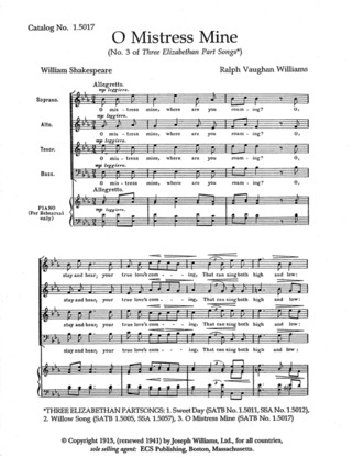 Ralph Vaughan Williams: O Mistress Mine (3 Elizabethan Songs 3)