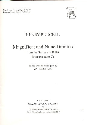 Henry Purcell: Magnificat and Nunc dimittis (transposition in C)