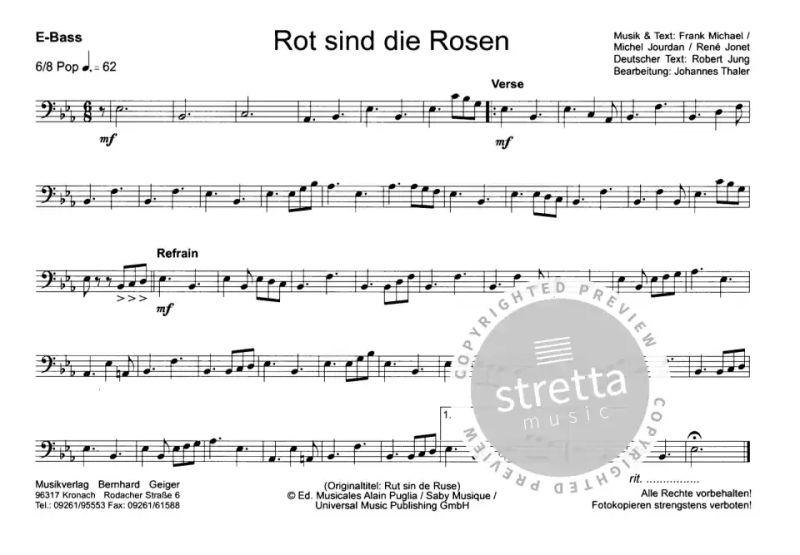 Rot Sind Die Rosen Noten