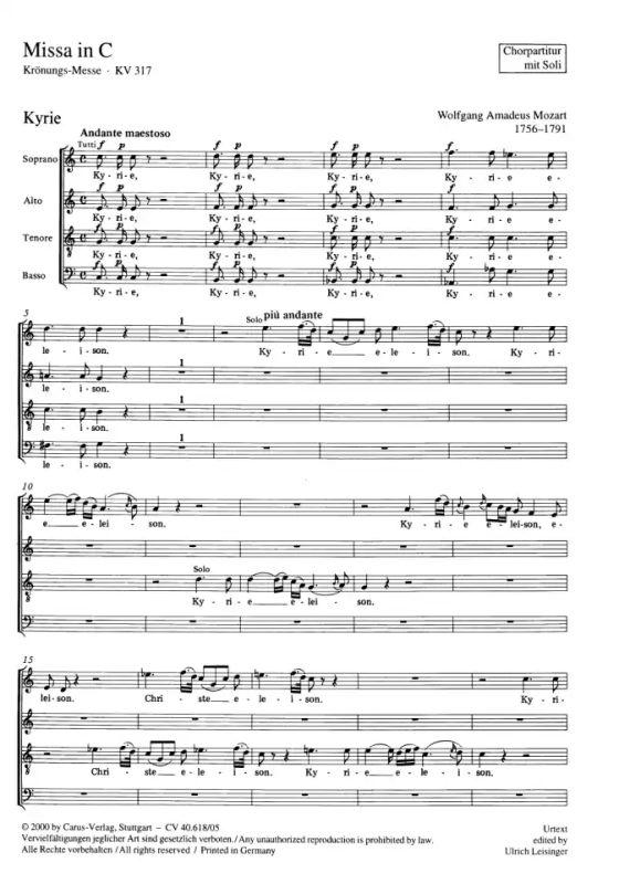 Krönungsmesse Mozart Noten