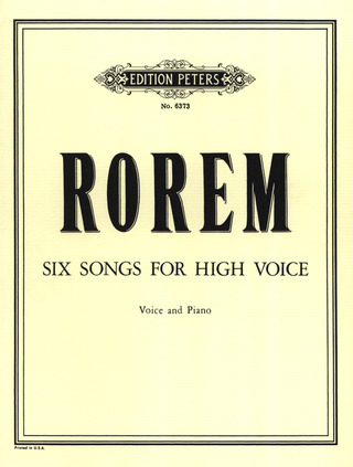 Ned Rorem: 6 Songs for high voice