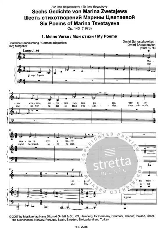 6 Gedichte Von Marina Zwetajewa Suite Für Alt Und Klavier Op