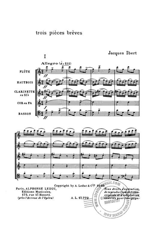 Jacques Ibert: 3 Pieces Breves (1)