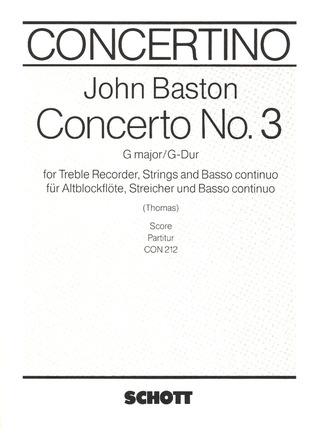 John Baston: Concerto No. 3 G major