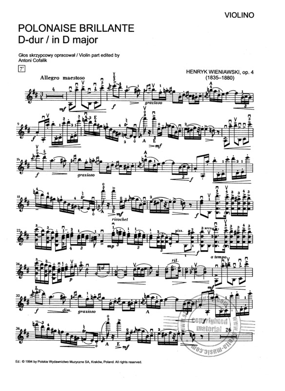 Polonaise Brillante 1 D Dur Op 4 From Henryk Wieniawski Buy Now In Stretta Sheet Music Shop
