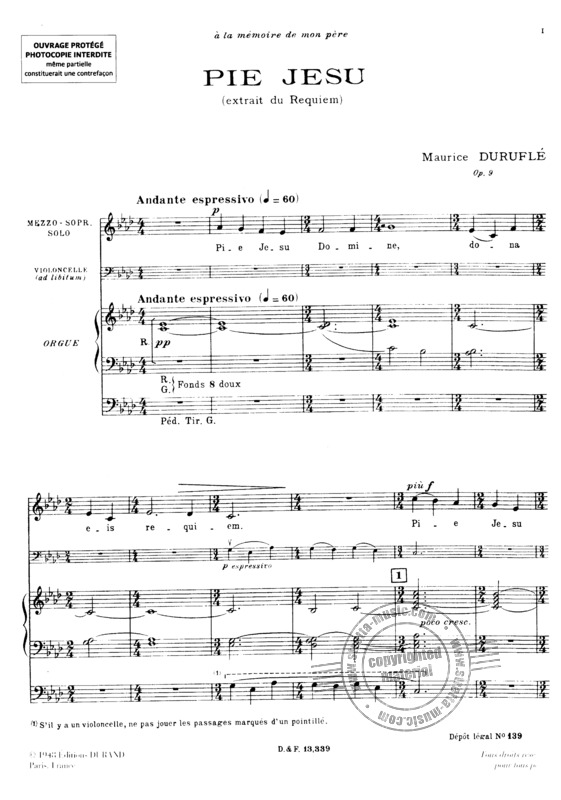 Pie Jesu Mezzo Orgue Cello Ad Lib Ton Original From