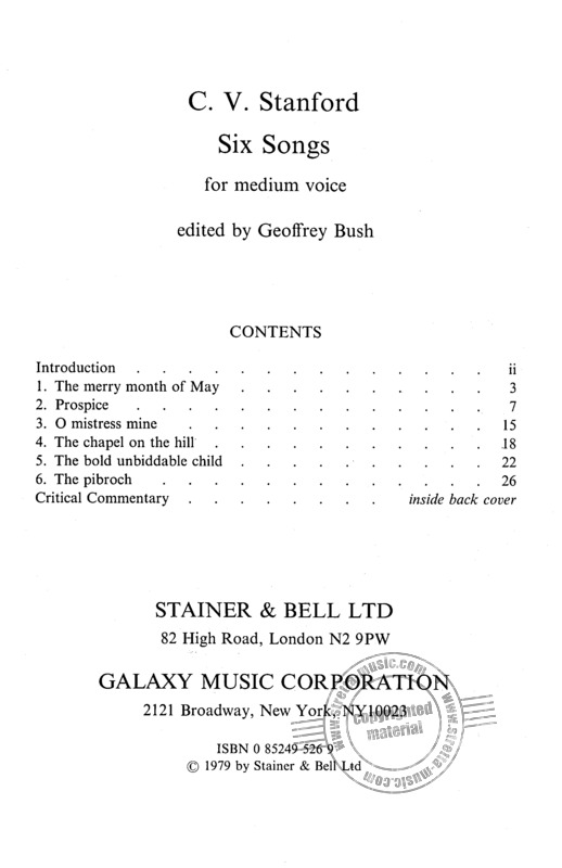 Charles Villiers Stanford: 6 Songs – medium voice (1)