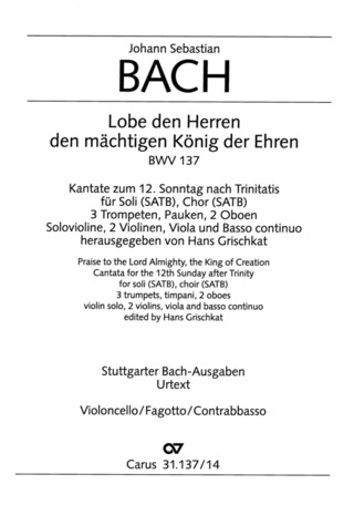 Johann Sebastian Bach: Praise ye to the Lord Almighty, the King of Creation BWV 137