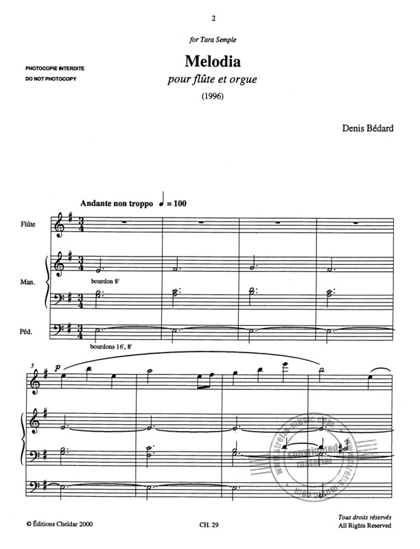 Denis Bédard: Melodia for flute and organ (1)