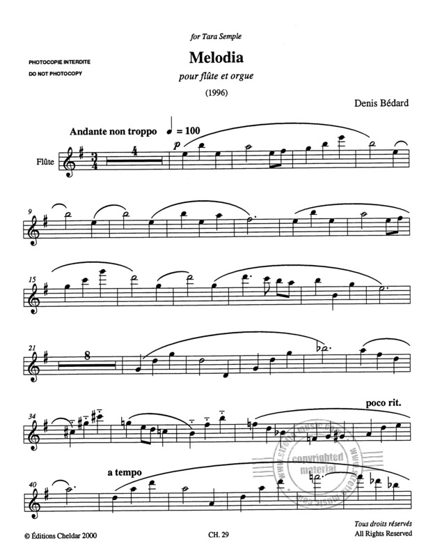 Denis Bédard: Melodia for flute and organ (3)
