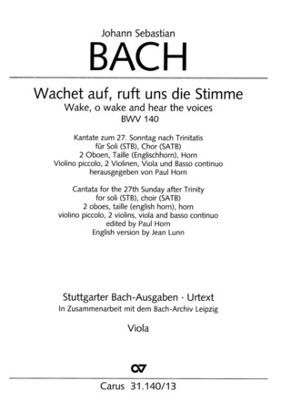 Johann Sebastian Bach: Wake, o wake and hear the voices BWV 140