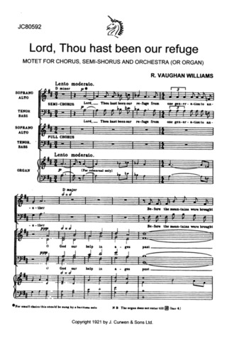 Ralph Vaughan Williams: Lord, Thou Hast Been Our Refuge (Satb/Organ) C