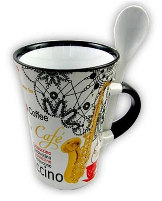 Cappuccino Mug With Spoon - Saxophone