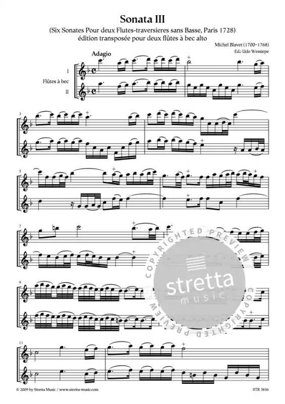 1728 Michel Blavet 6 Sonaten für 2 Altblockflöten  Band 1