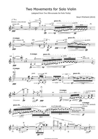 Pritchard, Gwyn: Two Movements for Solo Violin (2014)