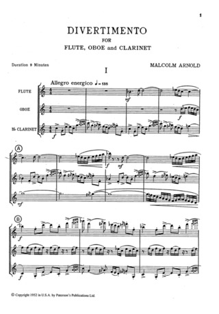 Malcolm Arnold: Arnold Divertimento For Wind Trio op. 37 Score