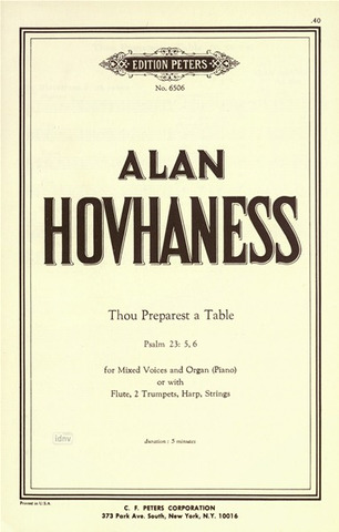 Alan Hovhaness: Thou Preparest a Table op. 188c