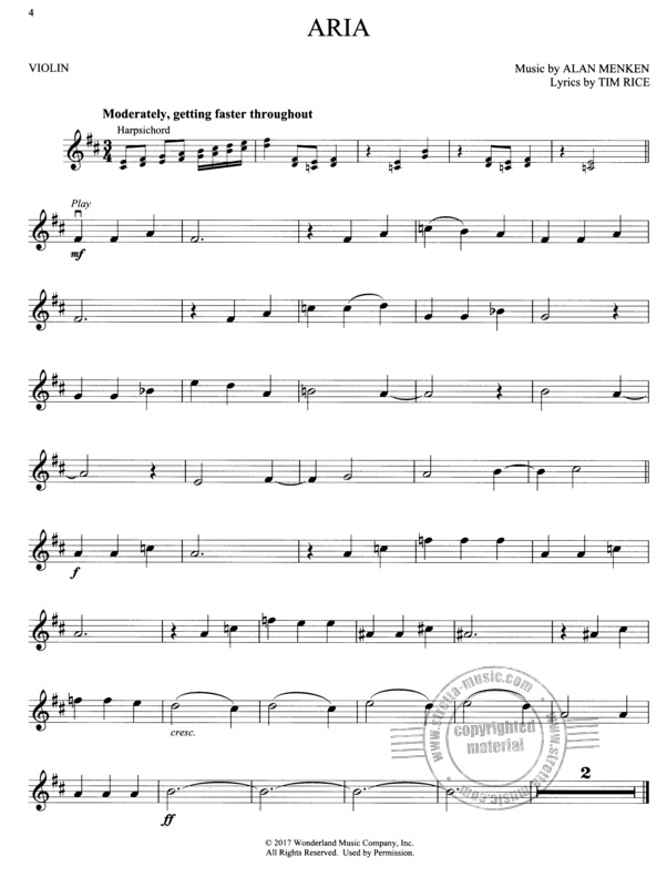 Beauty And The Beast Violin From Alan Menken Buy Now In Stretta Sheet Music Shop