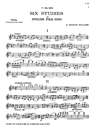 Ralph Vaughan Williams: 6 Studies In English Folk Song