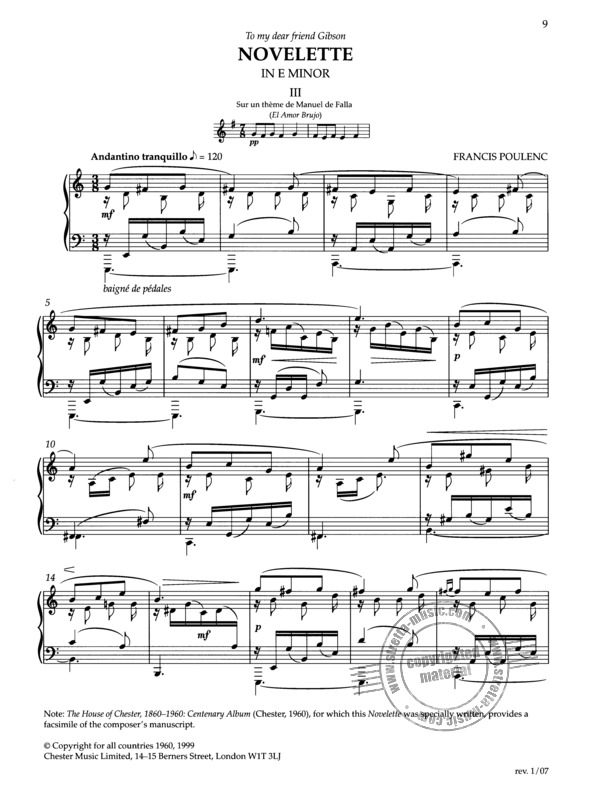 Francis Poulenc: 3 Novelettes For Piano (3)