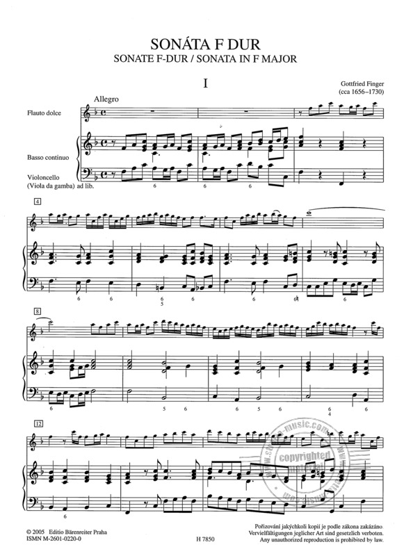 Gottfried Finger: Sonate F-Dur (1)