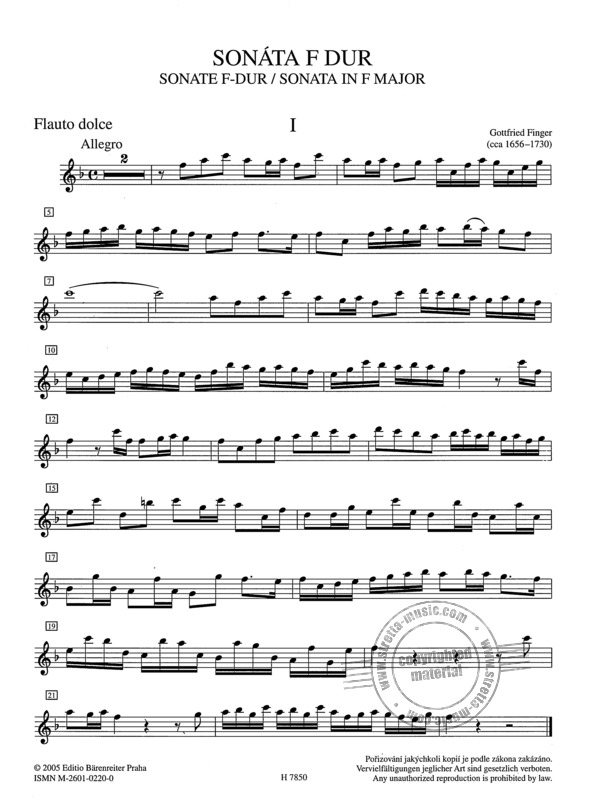 Gottfried Finger: Sonate F-Dur (2)