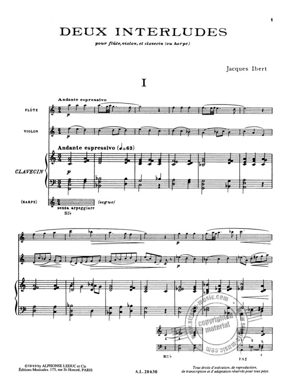 Jacques Ibert: 2 Interludes (1)