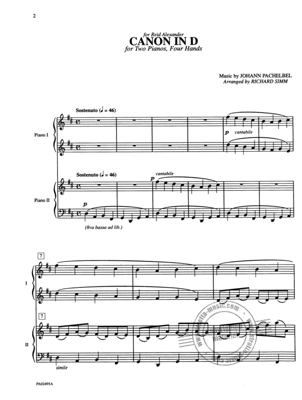 Canon In D Two Pianos Four Hands Late Intermediate 2 Copies